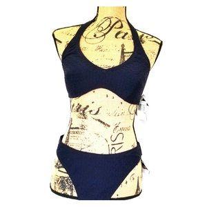 NWT Navy Speedo halter bikini size 14